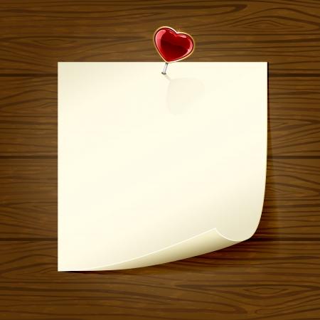 st valentin: Paper and heart on wooden background, illustration  Illustration