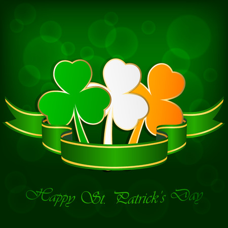 Three-colored leaves of a clover on green background with ribbon, illustration  Vector
