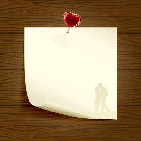 st valentin: Paper with silhouettes of couple and heart on wooden background, illustration