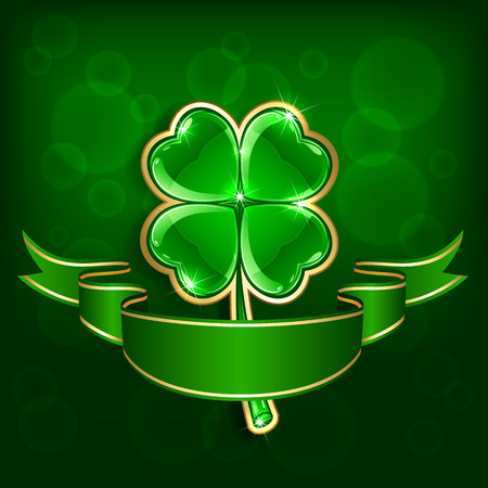 quarterfoil: Shiny leaf of a clover with ribbon on green background, illustration Illustration