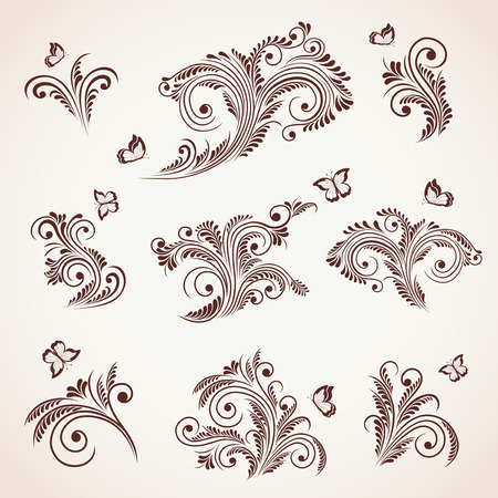 lepidoptera: Set of floral elements and butterflies for decor, Illustration