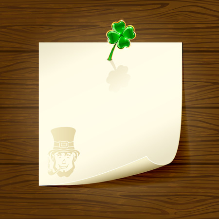 quarterfoil: Paper and clover on wooden background, illustration