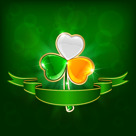 Three-colored clover leaf on green background with ribbon, illustration  Vector