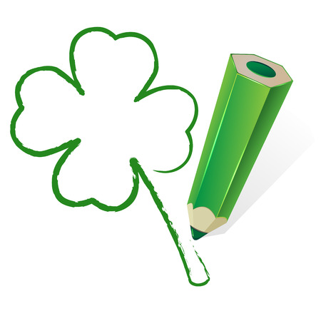 quarter foil: Clover drawn by a green pencil, illustration