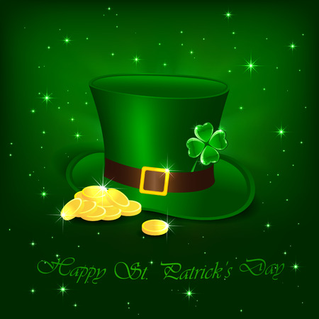 Hat with clover and leprechauns gold on green background, illustration  Vector