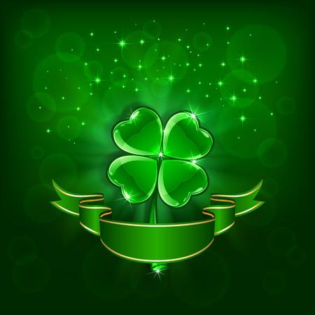 緑色の背景で、イラストのリボンと四葉のクローバーの光沢のある葉