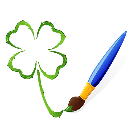 quarterfoil: Four leaf clover painted with a brush, illustration