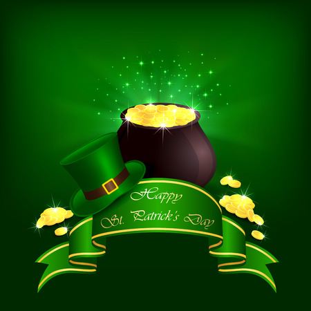 Hat, pot with leprechauns gold and ribbon on green background, illustration  Illustration