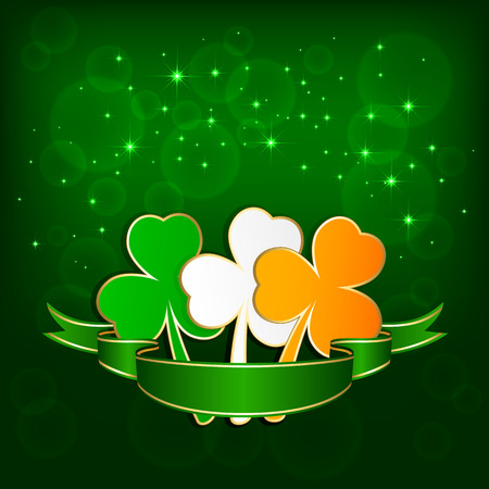 three leaf clover: Set of colored leaves of a clover on green background with ribbon, illustration