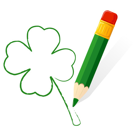 Four leaf clover painted with a green pencil, illustration  Vector