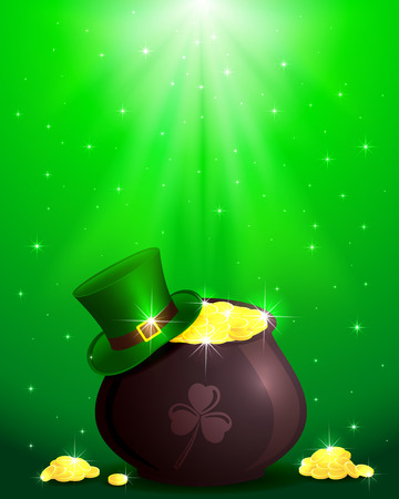 Hat and pot with leprechauns gold on shiny green background, illustration  Vector