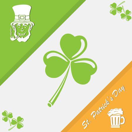 three leafed: Elements of Patricks day on tri-color background, illustration Illustration