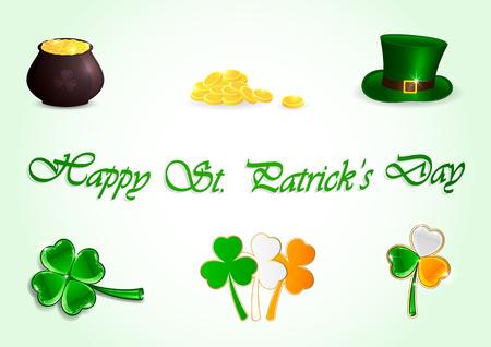 Set of Patricks day icons on green background, illustration  Illustration