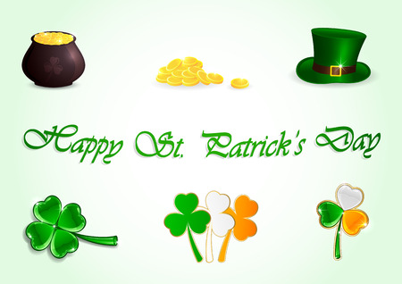 three leafed: Set of Patricks day icons on green background, illustration  Illustration