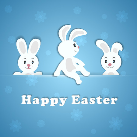 jackrabbit: Easter card with a three Easter rabbits, illustration