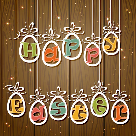 Set of paper Easter eggs with letters on wooden background, illustration  Vector