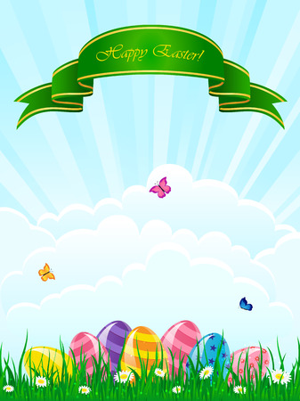 Easter eggs in a grass against the sky with ribbon and butterflies, illustration  Vector