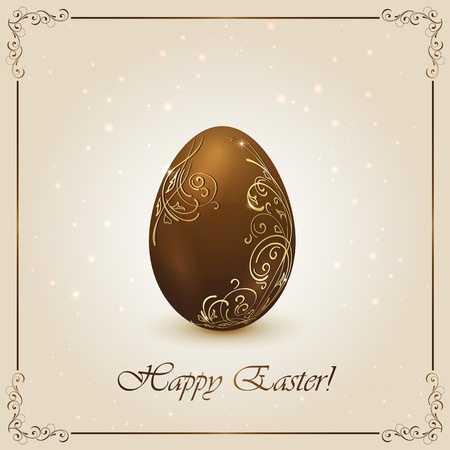 Chocolate Easter egg with golden floral elements, illustration  Vector