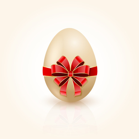 Easter egg with decorative red bow, illustration  Vector