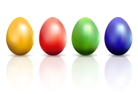 blue egg: Set of colorful Easter eggs isolated on white background, illustration
