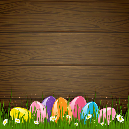 Colored Easter eggs on wooden background, illustration  Vector