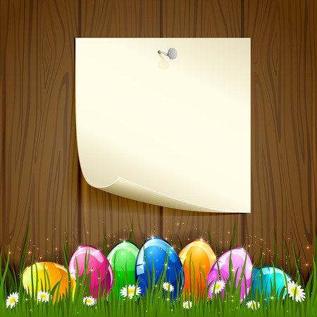 Colored Easter eggs on wooden background illustration  Vector