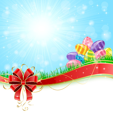 Sunny background with colored Easter eggs and red bow illustration  Vector