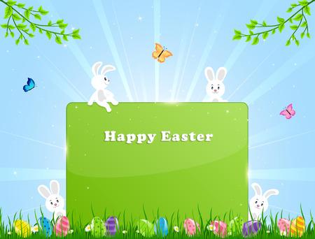 easter bunny: Kleine Osterhasen, Eier und Banner in einer Gras Abbildung