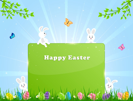 Little Easter rabbits, eggs and banner in a grass illustration