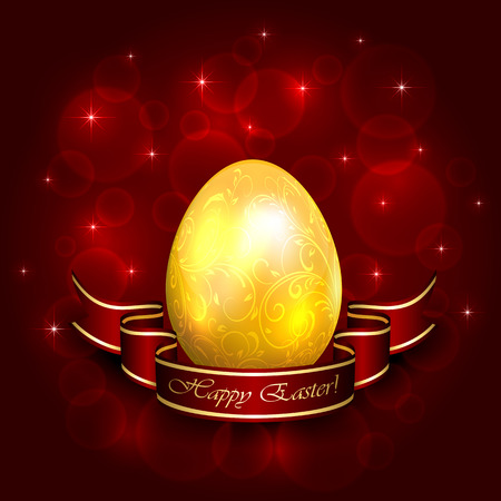 Golden decorative Easter egg with floral elements and red ribbon illustration  Vector