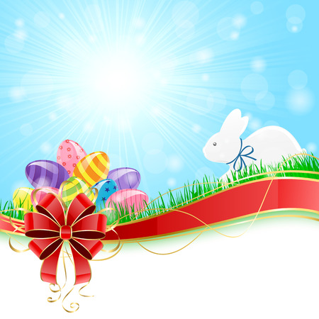 Sunny background with colored Easter eggs, red bow and rabbit illustration  Vector