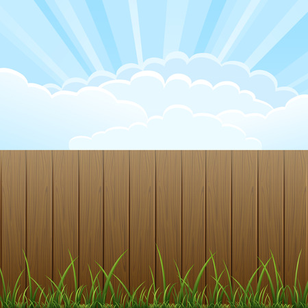 fencing: Wooden fence and grass on sky background illustration