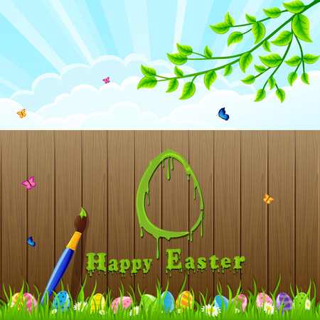 Easter egg painted with a brush on the fence illustration  Vector