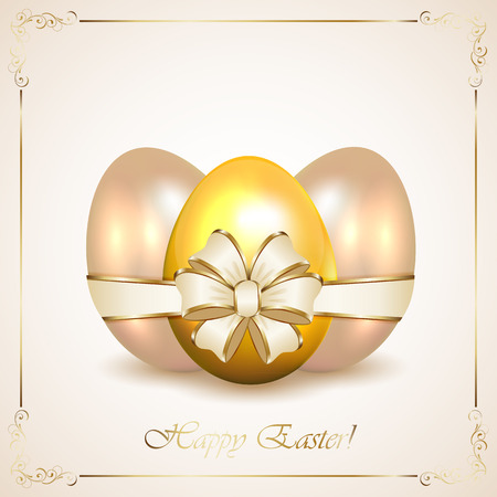 Three Easter eggs with ribbon and floral frame illustration  Vector