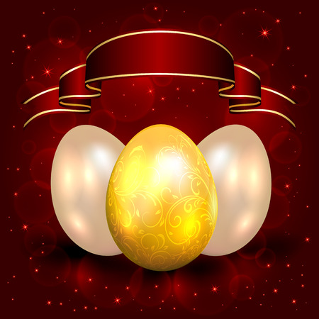 Three decorative Easter eggs on red background and ribbon illustration  Vector