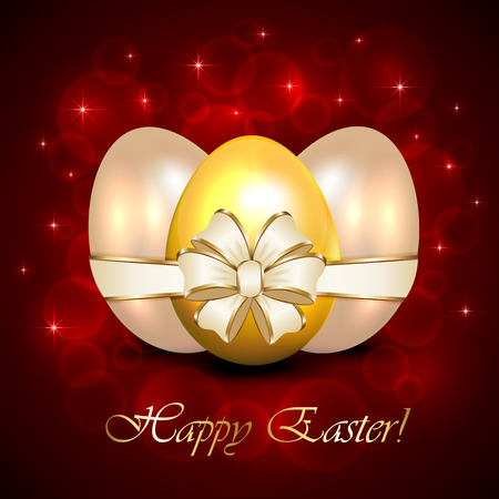 Three decorative Easter eggs with ribbon on red blurry background, illustration  Vector