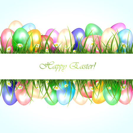Banner with colored Easter eggs in a grass, illustration  Vector