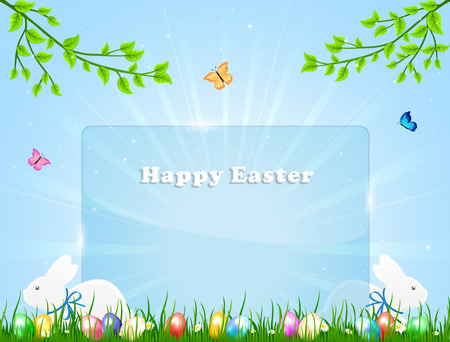 Easter banner with little rabbits and eggs in a grass, illustration
