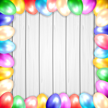 Frame from colorful Easter eggs on wooden background, illustration  Vector