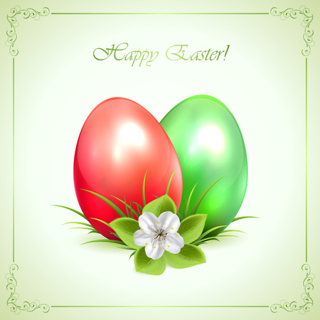 Two decorative Easter eggs with flower and ornate frame on green background, illustration  Vector
