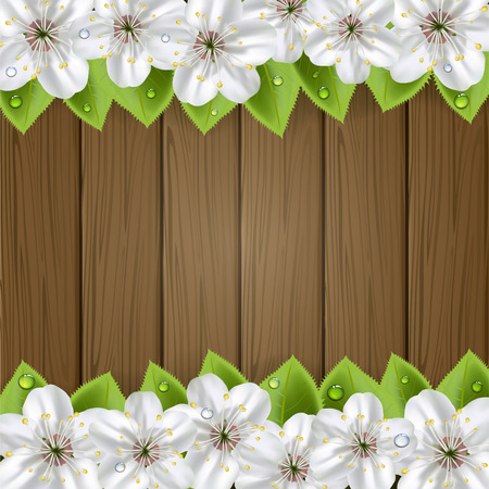 White flowers with drops and foliage on wooden brown background, illustration  Vector