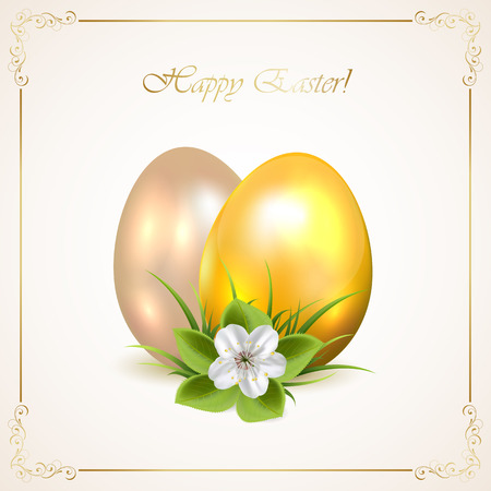 Two decorative Easter eggs with one flower and ornate frame on beige background, illustration  Vector