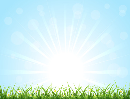 Blue nature background with Sun, grass and flowers, illustration  Illustration