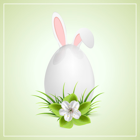 bunny ears: Easter egg with flower and bunny ears, illustration
