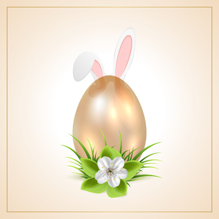 Golden Easter egg with flower and bunny ears, illustration  Vector