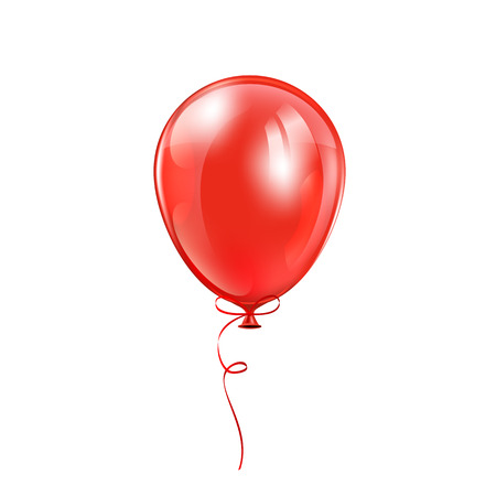 inflating: Red balloon with bow isolated on a white background, illustration