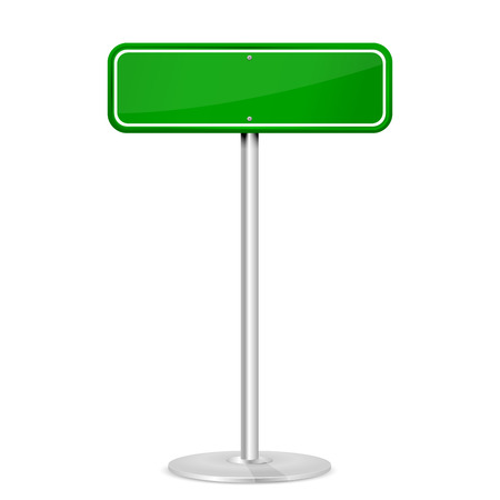 guidepost: Blank green road sign with stand isolated on a white background, illustration  Illustration
