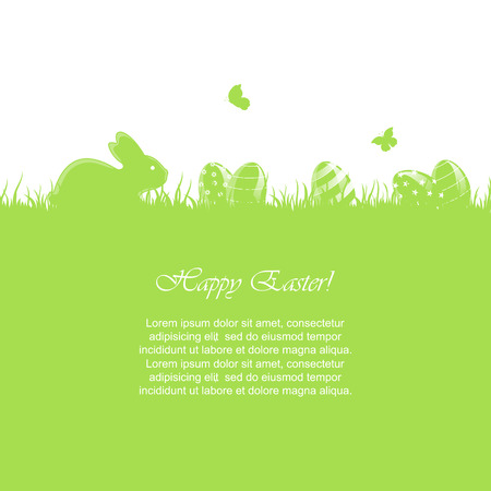 jackrabbit: Easter green background with little rabbit and eggs in a grass, illustration