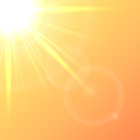 clear sky: Orange background with shining Sun in a clear sky, illustration