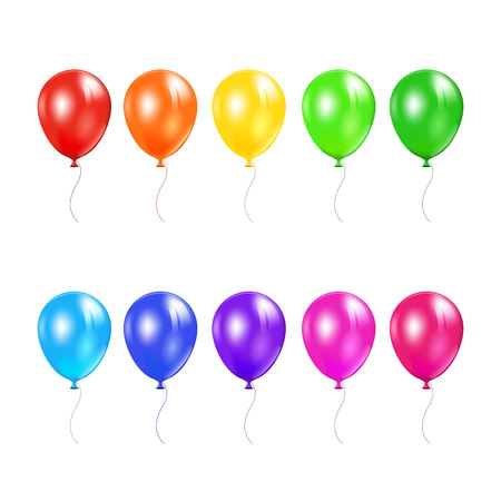 inflating: Set of colored balloons isolated on a white background, illustration  Illustration